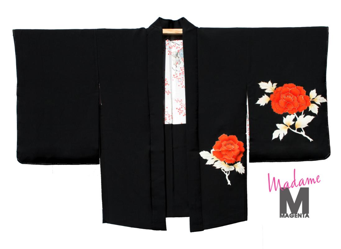 kimono haori orange flores flowers silk seda