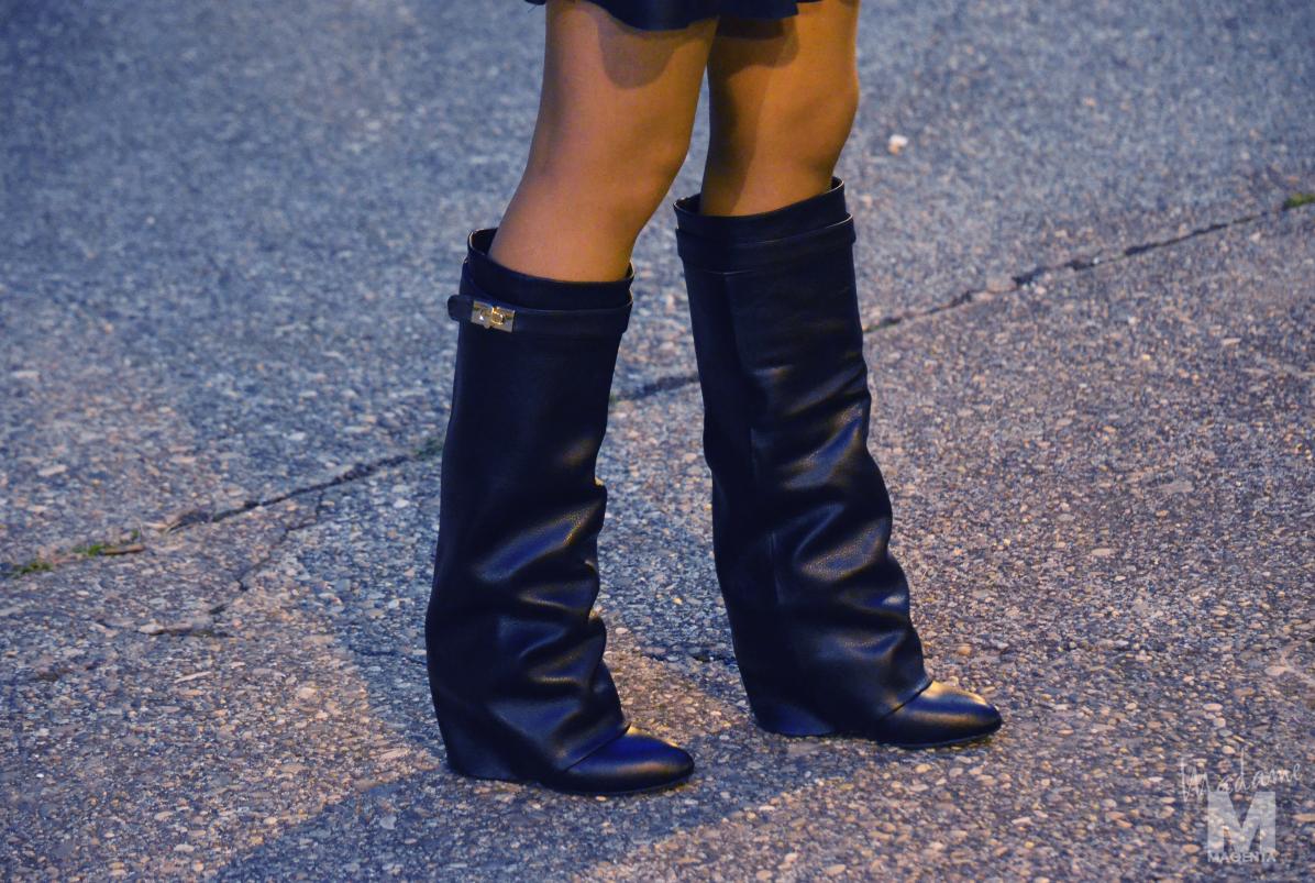 Libertad Pertierra primark fluo blouse zara leather skirt choies black boots