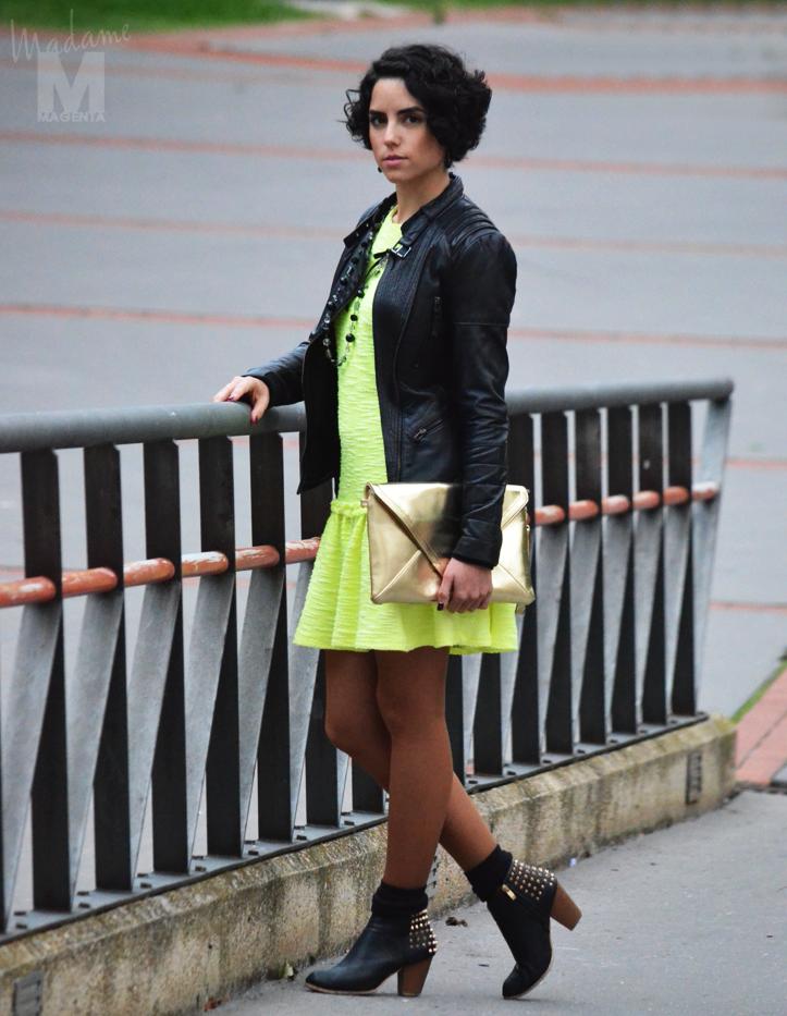 fluo dress leather jacket envelope clutch Libertad Pertierra