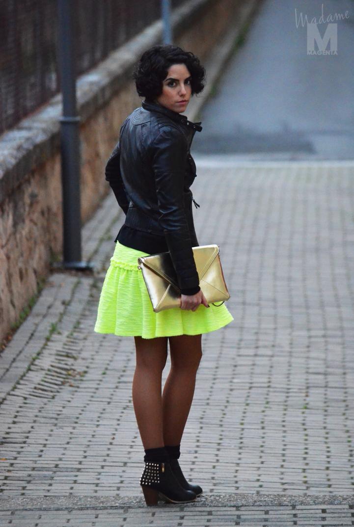 fluo dress leather jacket envelope clutch Libertad Pertierra 12