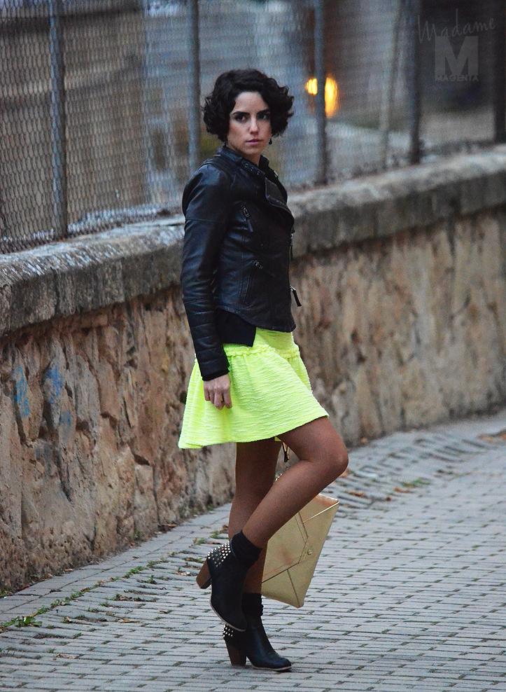 fluo dress leather jacket envelope clutch Libertad Pertierra 13