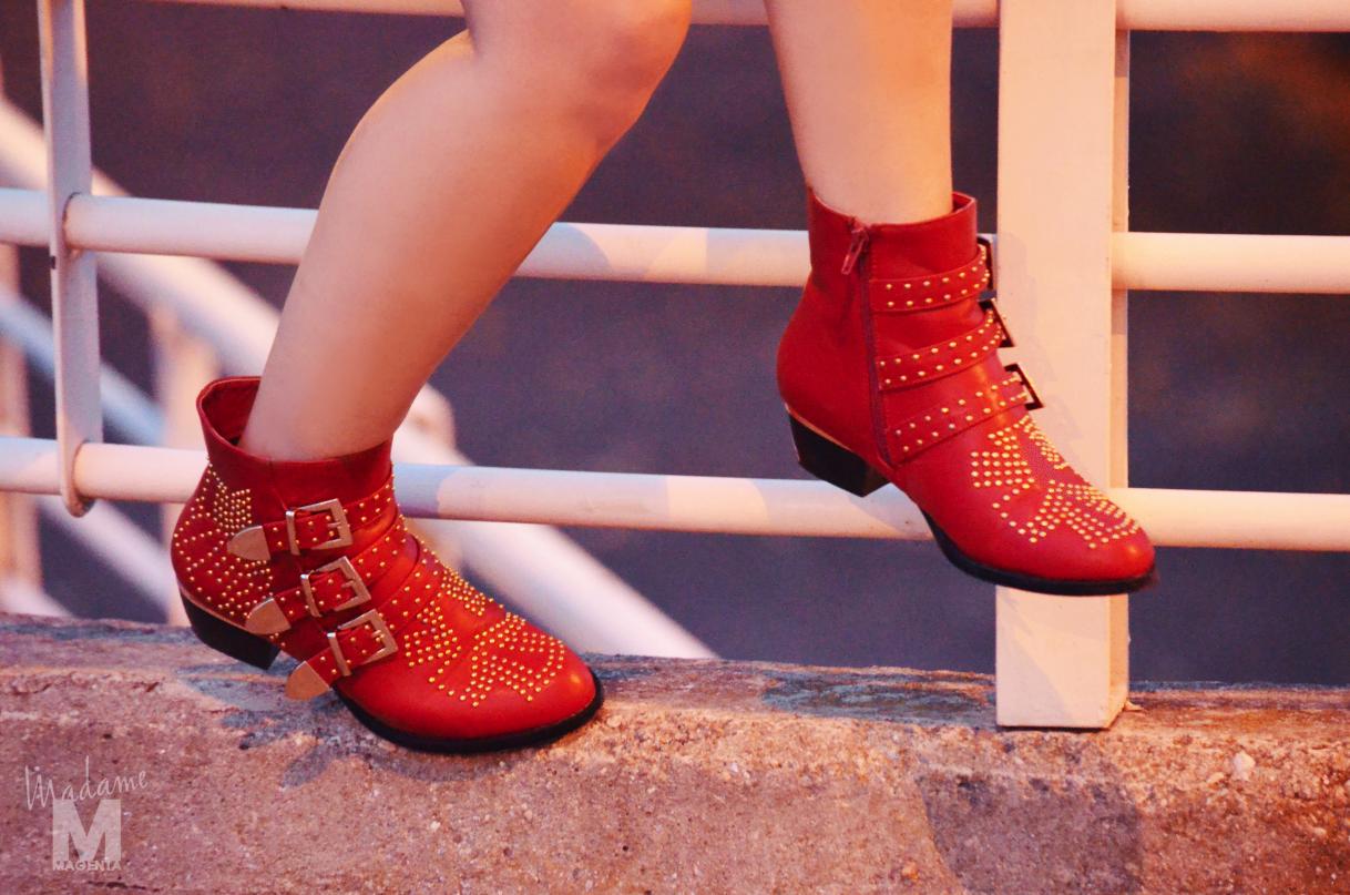 Libertad Pertierra botines rojos red suzanne chloe vestido dress zara misako satchel bag bolso 9